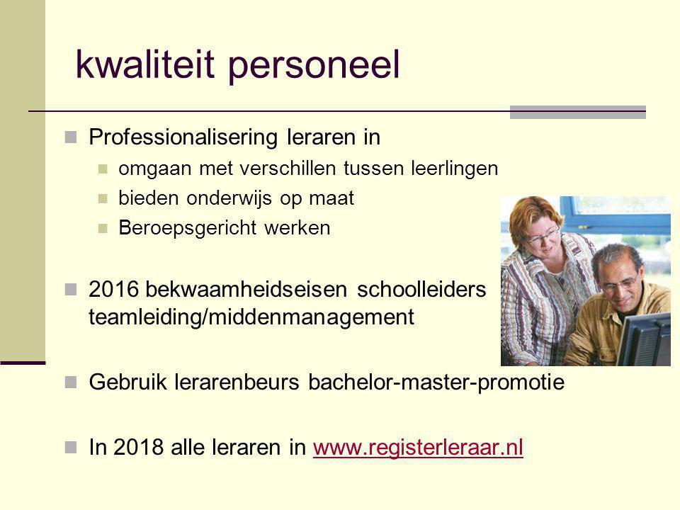 kwaliteit personeel Professionalisering leraren in omgaan met verschillen tussen leerlingen bieden onderwijs op maat Beroepsgericht werken 2016 bekwaa