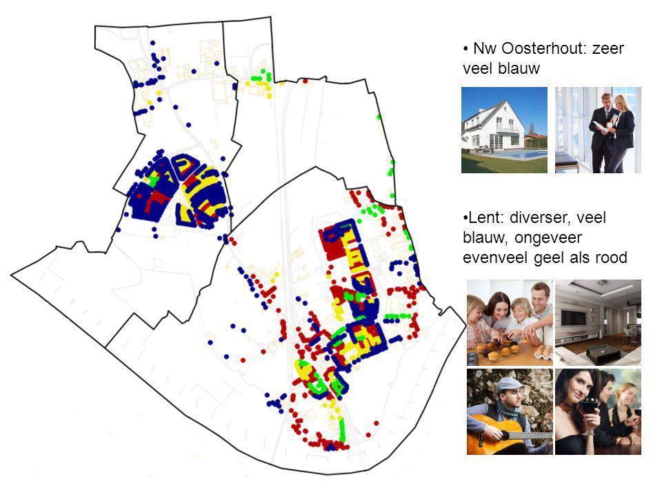 Nw Oosterhout: zeer veel blauw Lent: diverser, veel blauw, ongeveer evenveel geel als rood