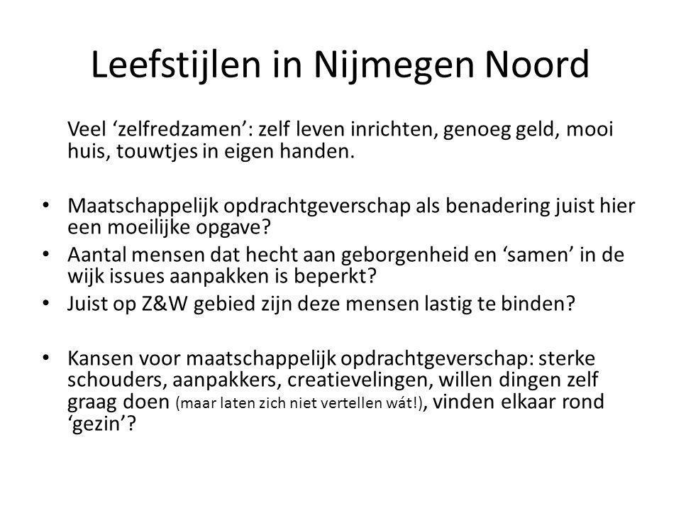 Leefstijlen in Nijmegen Noord Veel 'zelfredzamen': zelf leven inrichten, genoeg geld, mooi huis, touwtjes in eigen handen. Maatschappelijk opdrachtgev