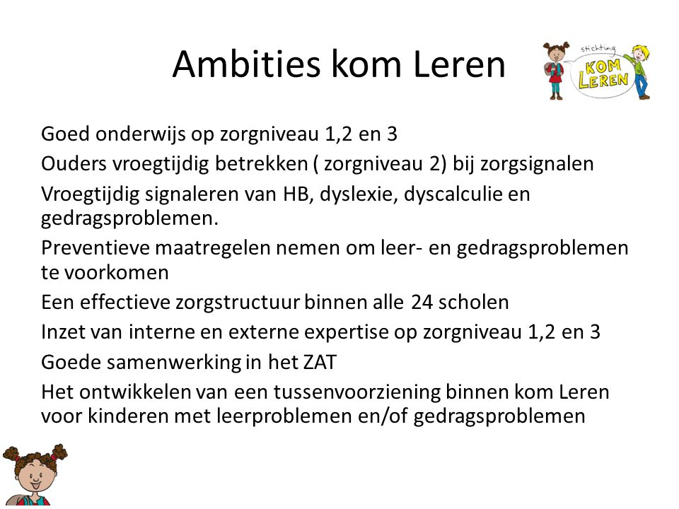 Ambities kom Leren Goed onderwijs op zorgniveau 1,2 en 3 Ouders vroegtijdig betrekken ( zorgniveau 2) bij zorgsignalen Vroegtijdig signaleren van HB,