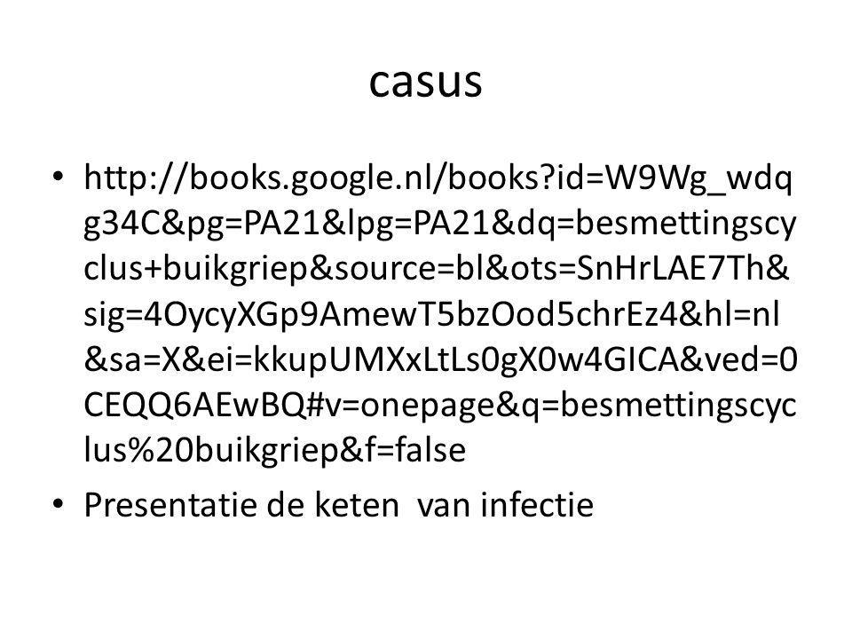 casus http://books.google.nl/books?id=W9Wg_wdq g34C&pg=PA21&lpg=PA21&dq=besmettingscy clus+buikgriep&source=bl&ots=SnHrLAE7Th& sig=4OycyXGp9AmewT5bzOo