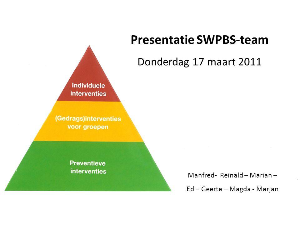 Presentatie SWPBS-team Donderdag 17 maart 2011 Manfred- Reinald – Marian – Ed – Geerte – Magda - Marjan