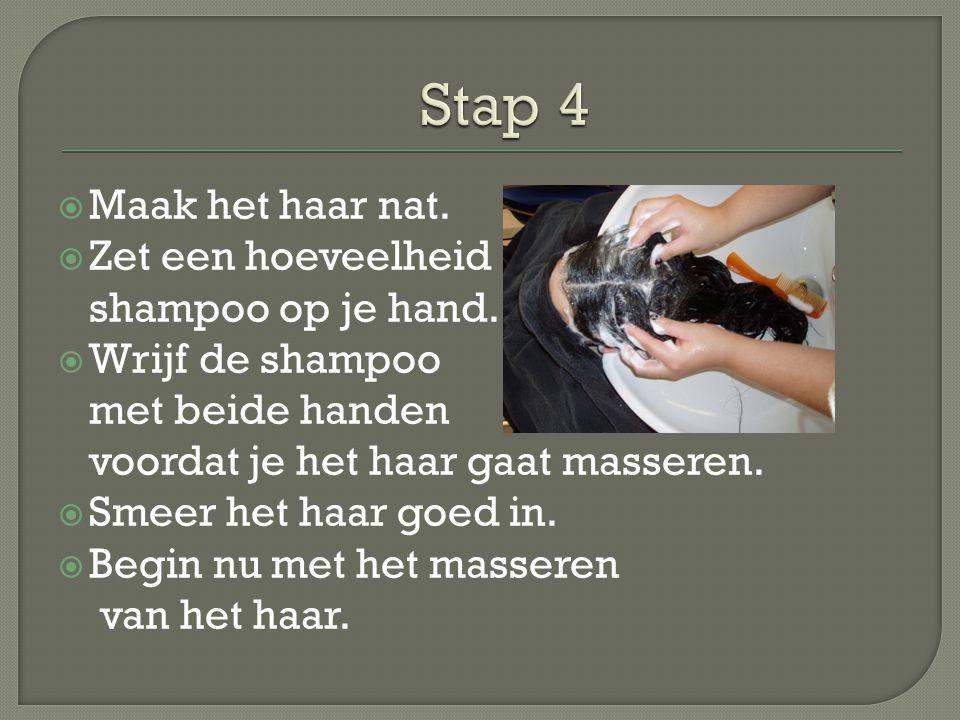  Maak het haar nat.  Zet een hoeveelheid shampoo op je hand.  Wrijf de shampoo met beide handen voordat je het haar gaat masseren.  Smeer het haar