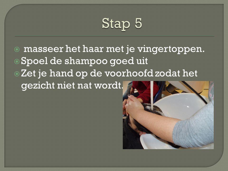  masseer het haar met je vingertoppen.  Spoel de shampoo goed uit  Zet je hand op de voorhoofd zodat het gezicht niet nat wordt.