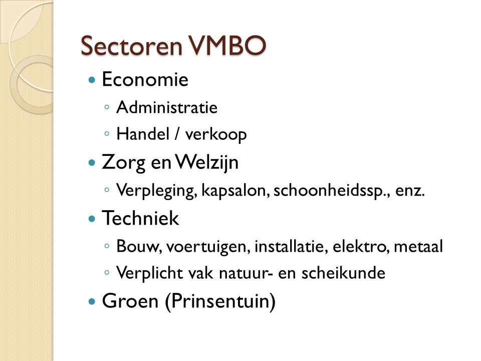 Sectoren VMBO Economie ◦ Administratie ◦ Handel / verkoop Zorg en Welzijn ◦ Verpleging, kapsalon, schoonheidssp., enz. Techniek ◦ Bouw, voertuigen, in