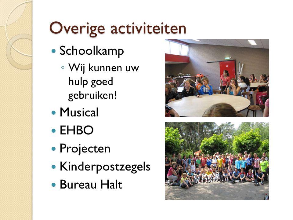 Overige activiteiten Schoolkamp ◦ Wij kunnen uw hulp goed gebruiken! Musical EHBO Projecten Kinderpostzegels Bureau Halt