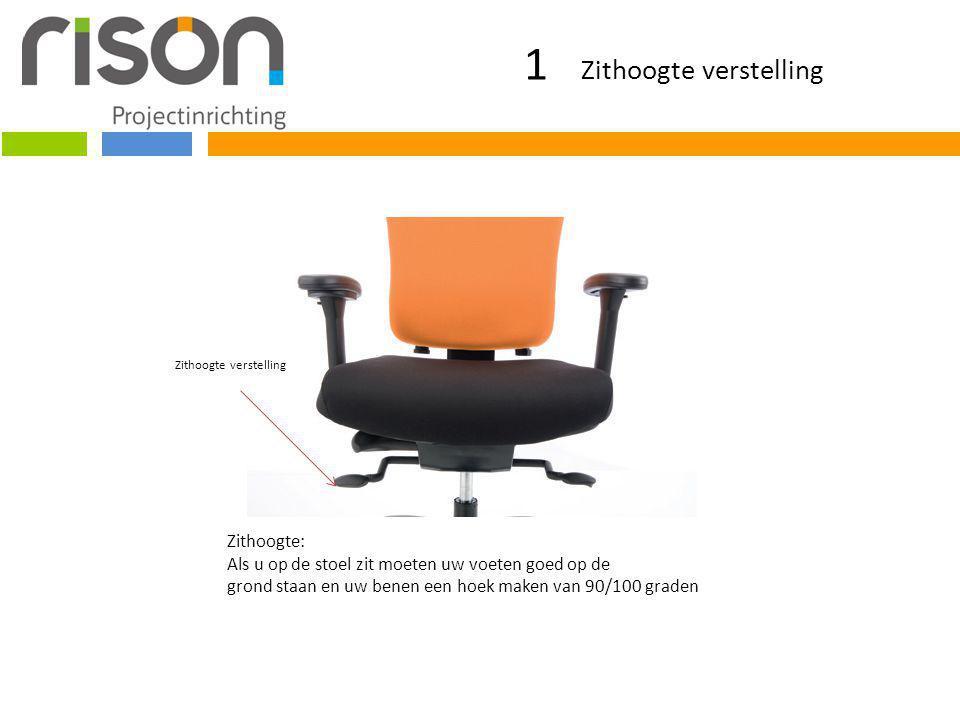 1 Zithoogte verstelling Zithoogte verstelling Zithoogte: Als u op de stoel zit moeten uw voeten goed op de grond staan en uw benen een hoek maken van 90/100 graden
