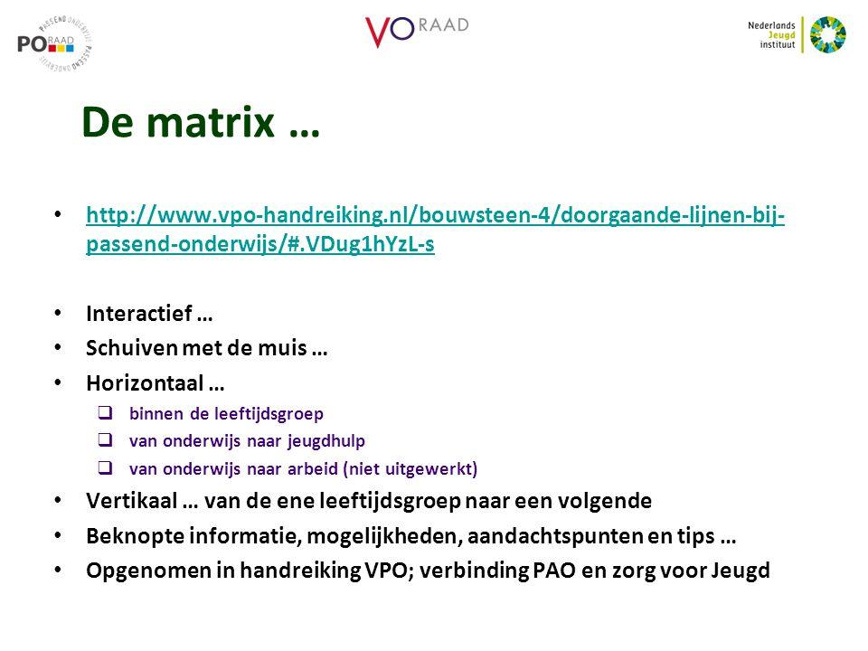 De matrix … http://www.vpo-handreiking.nl/bouwsteen-4/doorgaande-lijnen-bij- passend-onderwijs/#.VDug1hYzL-s http://www.vpo-handreiking.nl/bouwsteen-4/doorgaande-lijnen-bij- passend-onderwijs/#.VDug1hYzL-s Interactief … Schuiven met de muis … Horizontaal …  binnen de leeftijdsgroep  van onderwijs naar jeugdhulp  van onderwijs naar arbeid (niet uitgewerkt) Vertikaal … van de ene leeftijdsgroep naar een volgende Beknopte informatie, mogelijkheden, aandachtspunten en tips … Opgenomen in handreiking VPO; verbinding PAO en zorg voor Jeugd