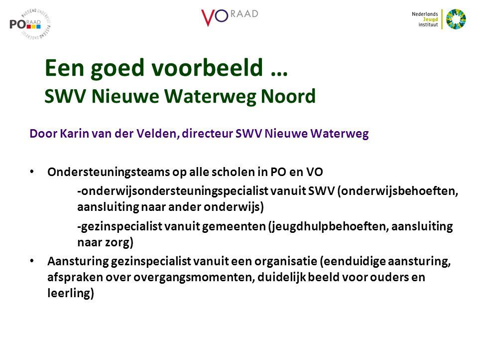 Een goed voorbeeld … SWV Nieuwe Waterweg Noord Door Karin van der Velden, directeur SWV Nieuwe Waterweg Ondersteuningsteams op alle scholen in PO en V