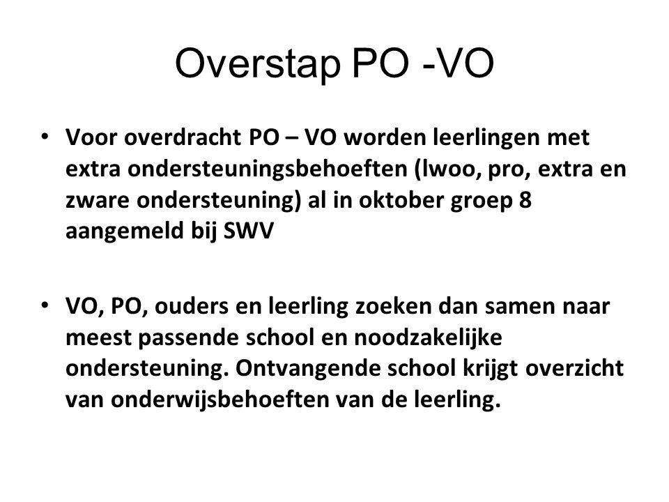 Overstap PO -VO Voor overdracht PO – VO worden leerlingen met extra ondersteuningsbehoeften (lwoo, pro, extra en zware ondersteuning) al in oktober gr