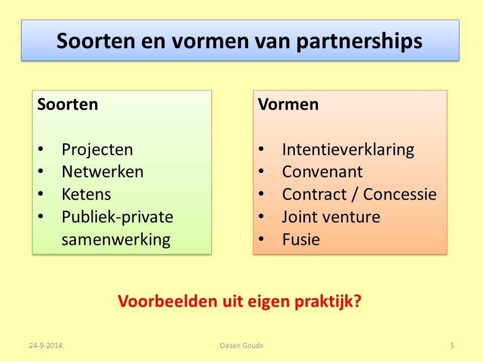 Soorten en vormen van partnerships Soorten Projecten Netwerken Ketens Publiek-private samenwerking Soorten Projecten Netwerken Ketens Publiek-private