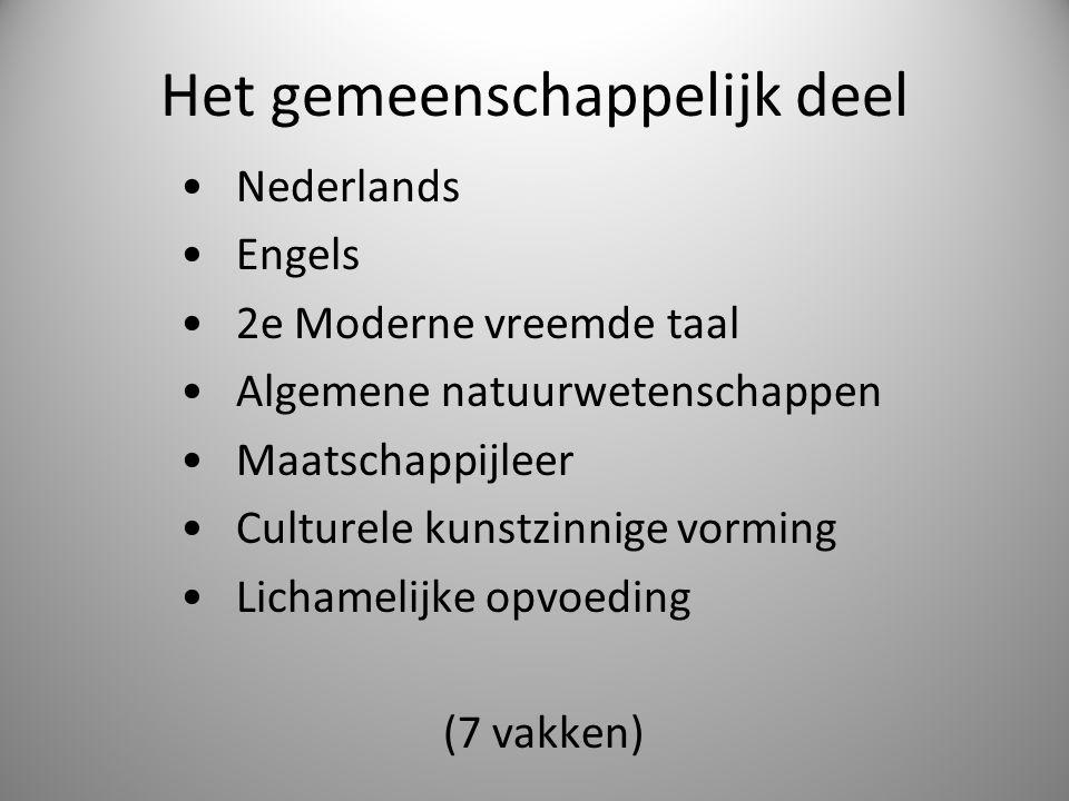 Het gemeenschappelijk deel Nederlands Engels 2e Moderne vreemde taal Algemene natuurwetenschappen Maatschappijleer Culturele kunstzinnige vorming Lich