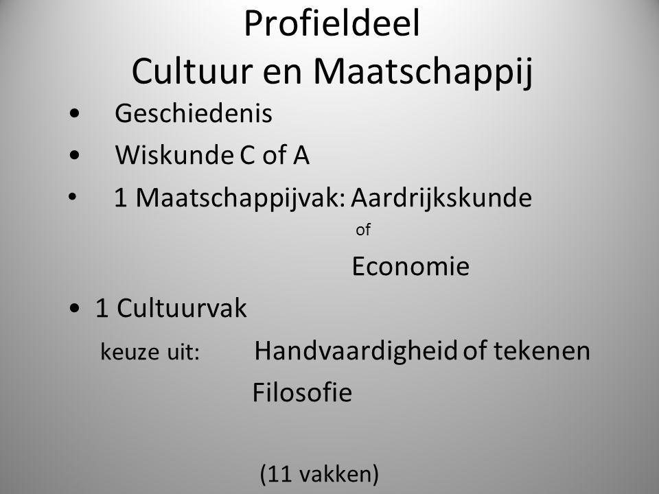 Profieldeel Cultuur en Maatschappij Geschiedenis Wiskunde C of A 1 Maatschappijvak: Aardrijkskunde of Economie 1 Cultuurvak keuze uit: Handvaardigheid
