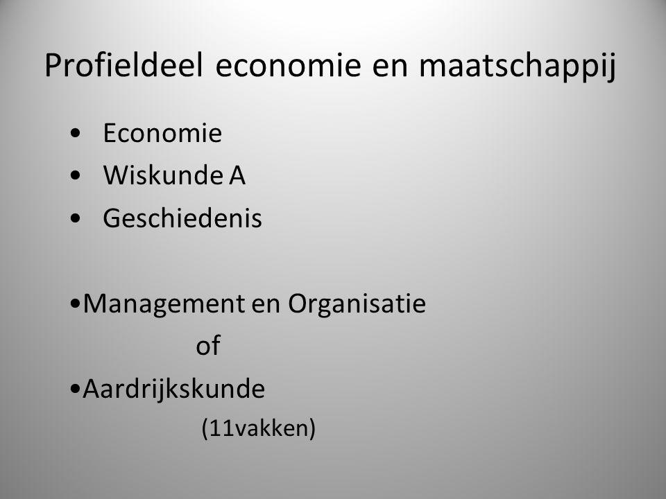 Profieldeel economie en maatschappij Economie Wiskunde A Geschiedenis Management en Organisatie of Aardrijkskunde (11vakken)