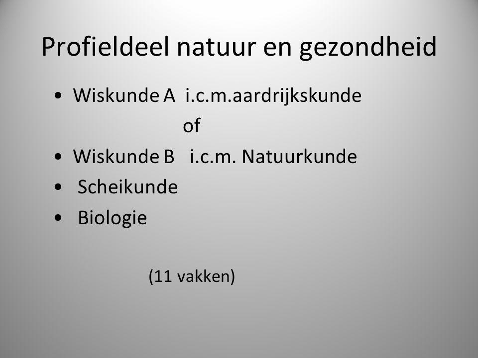Profieldeel natuur en gezondheid Wiskunde A i.c.m.aardrijkskunde of Wiskunde B i.c.m. Natuurkunde Scheikunde Biologie (11 vakken)