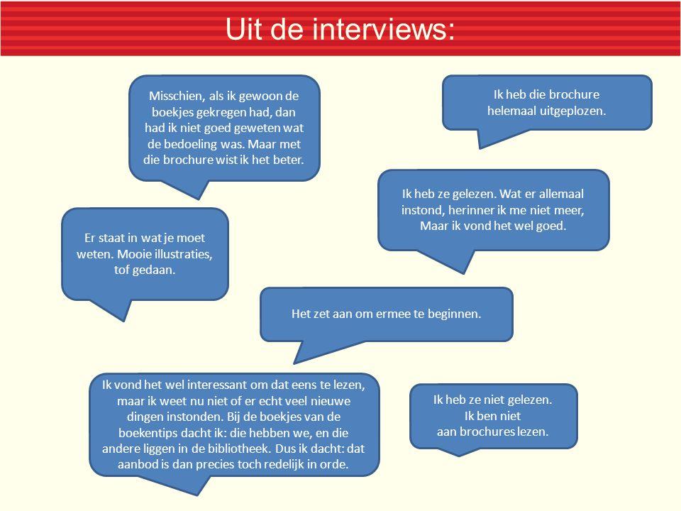 Uit de interviews: Misschien, als ik gewoon de boekjes gekregen had, dan had ik niet goed geweten wat de bedoeling was.