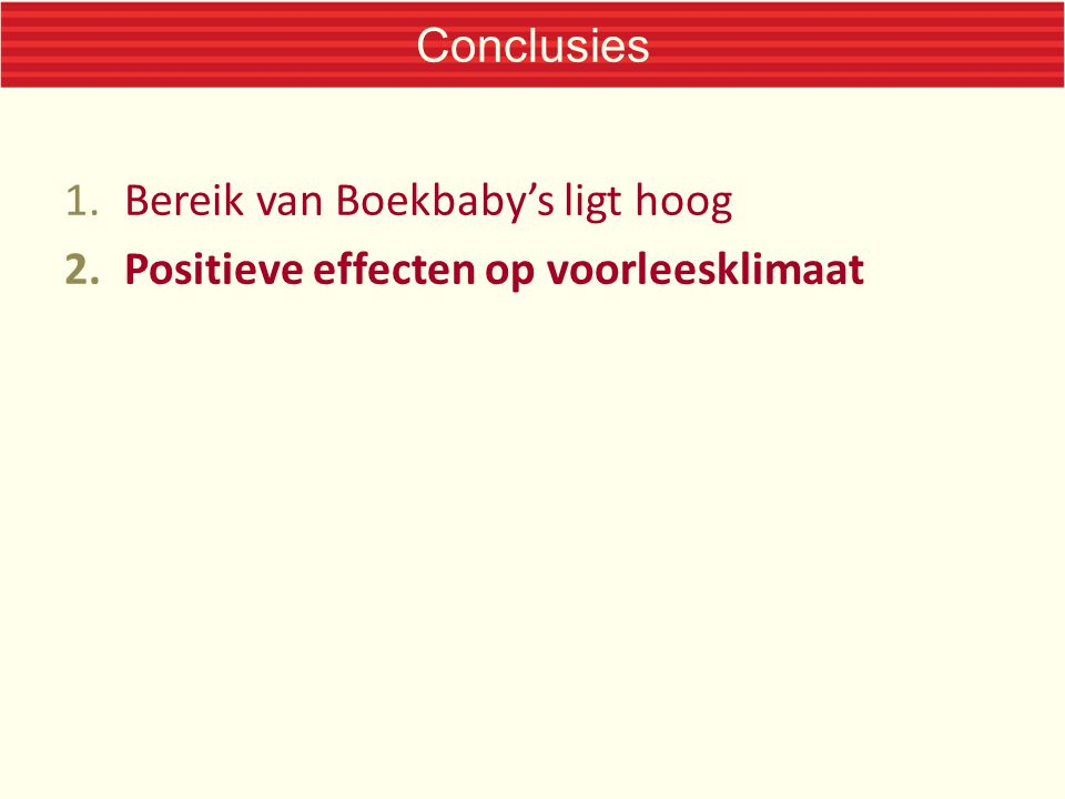 Conclusies 1.Bereik van Boekbaby's ligt hoog 2.Positieve effecten op voorleesklimaat