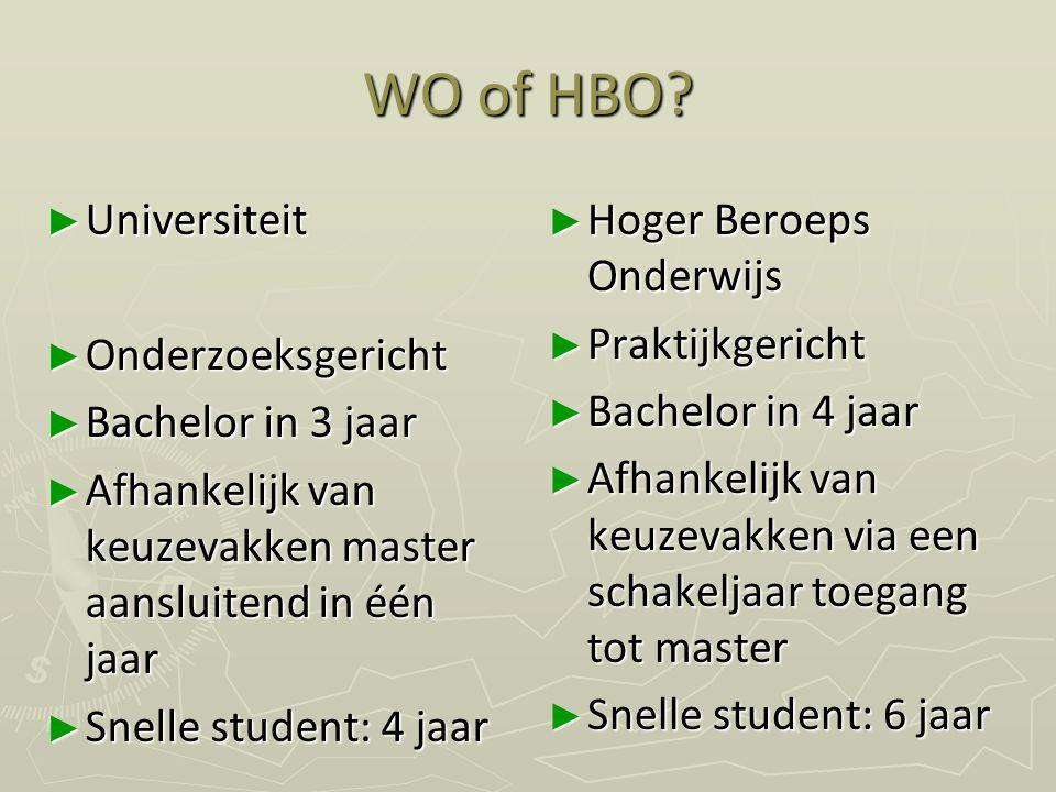 WO of HBO? ► Universiteit ► Onderzoeksgericht ► Bachelor in 3 jaar ► Afhankelijk van keuzevakken master aansluitend in één jaar ► Snelle student: 4 ja