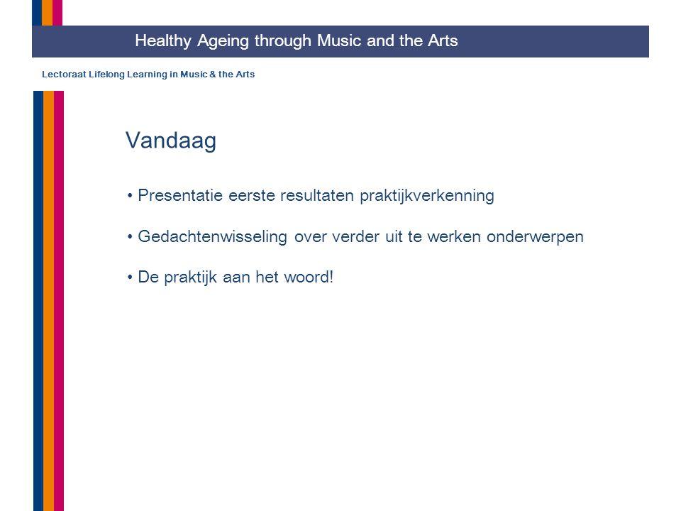 Lectoraat Lifelong Learning in Music & the Arts Vandaag Presentatie eerste resultaten praktijkverkenning Gedachtenwisseling over verder uit te werken onderwerpen De praktijk aan het woord.
