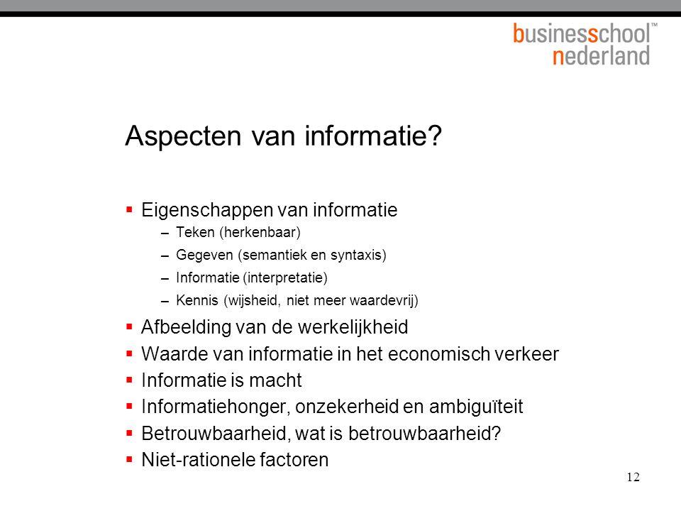 12 Aspecten van informatie.