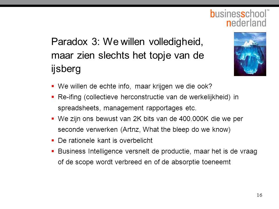 16 Paradox 3: We willen volledigheid, maar zien slechts het topje van de ijsberg  We willen de echte info,maar krijgen we die ook.