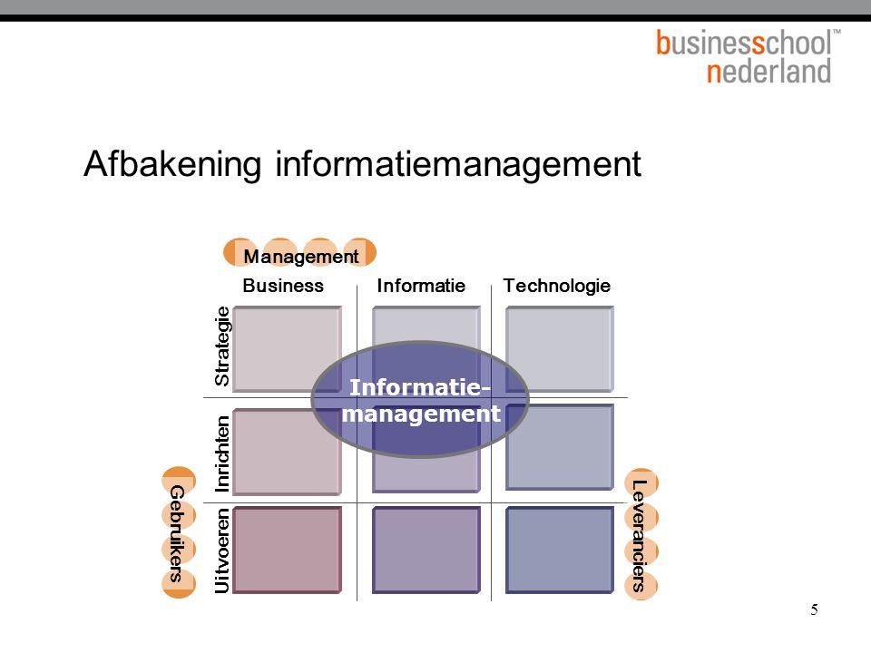 Bron : Luftmann, Papp, Brier Communication Metrics Governance Partnerships Technology Human Resources Business en ICT alignment