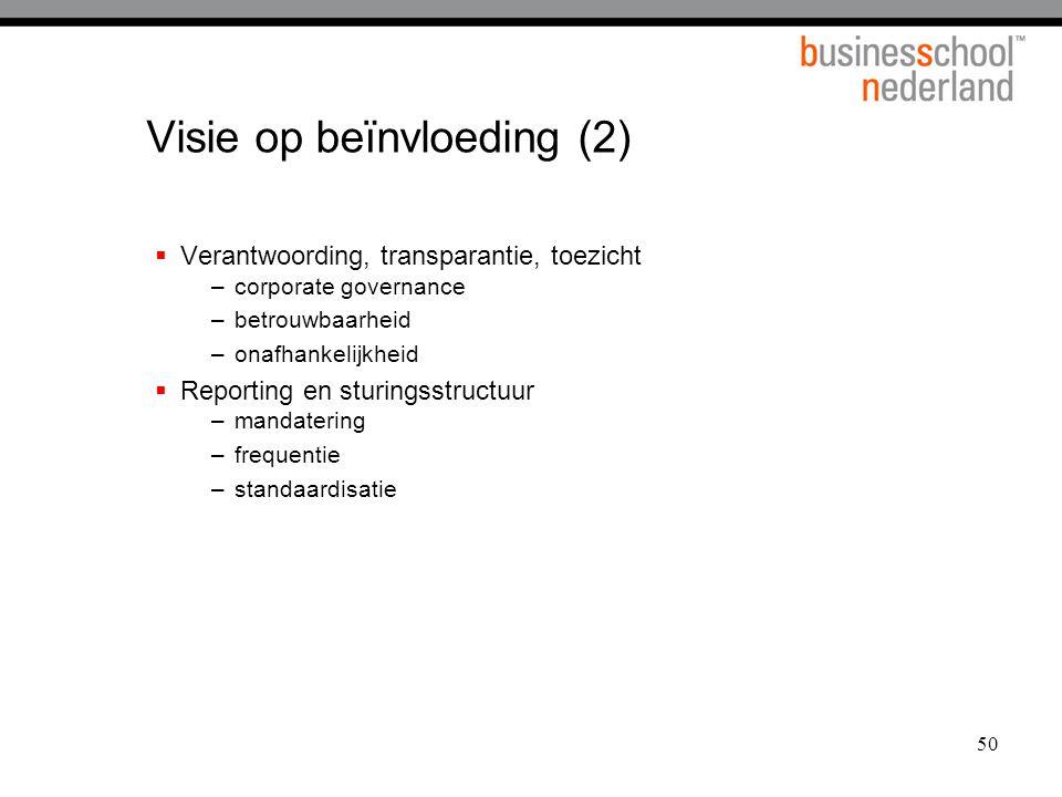50 Visie op beïnvloeding (2)  Verantwoording, transparantie, toezicht –corporate governance –betrouwbaarheid –onafhankelijkheid  Reporting en sturingsstructuur –mandatering –frequentie –standaardisatie
