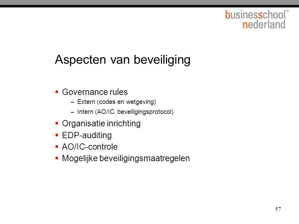 57 Aspecten van beveiliging  Governance rules –Extern (codes en wetgeving) –Intern (AO/IC, beveiligingsprotocol)  Organisatie inrichting  EDP-auditing  AO/IC-controle  Mogelijke beveiligingsmaatregelen