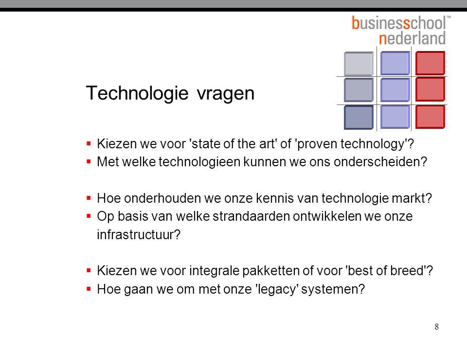 8 Technologie vragen  Kiezen we voor state of the art of proven technology .