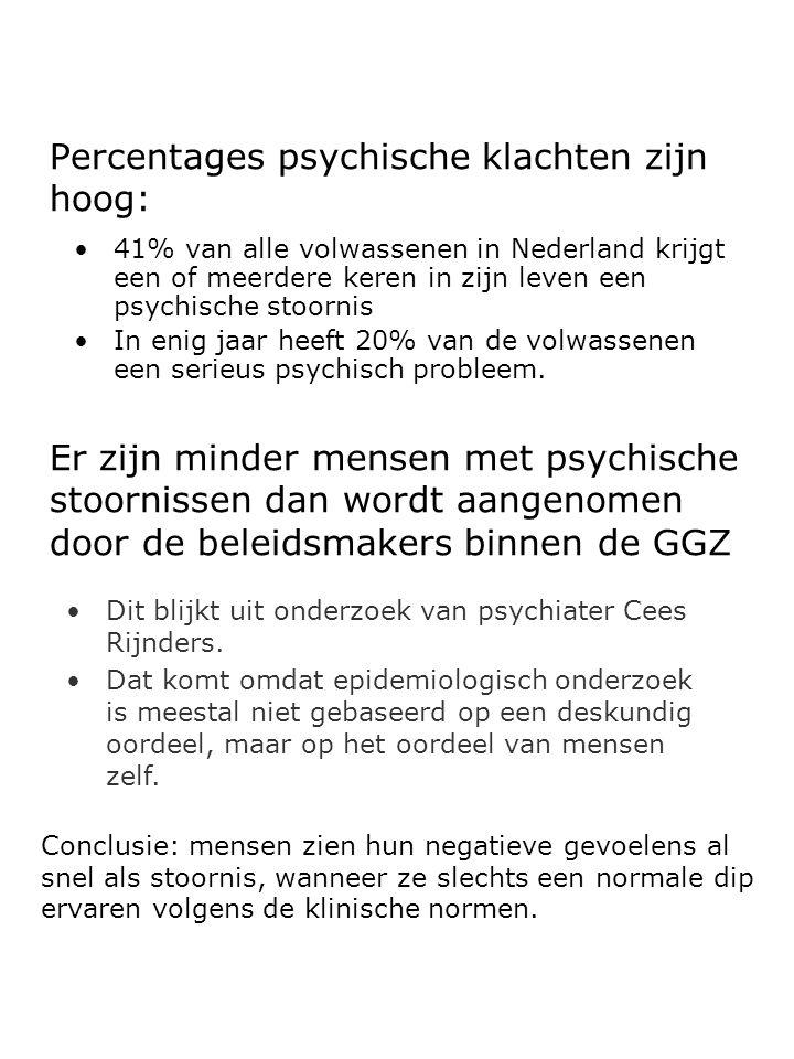 Percentages psychische klachten zijn hoog: 41% van alle volwassenen in Nederland krijgt een of meerdere keren in zijn leven een psychische stoornis In