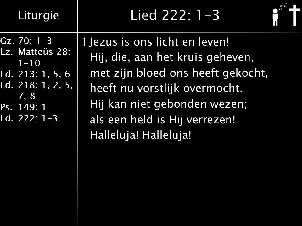 Liturgie Gz.70: 1-3 Lz.Matteüs 28: 1-10 Ld.213: 1, 5, 6 Ld.218: 1, 2, 5, 7, 8 Ps.149: 1 Ld.222: 1-3 1Jezus is ons licht en leven.