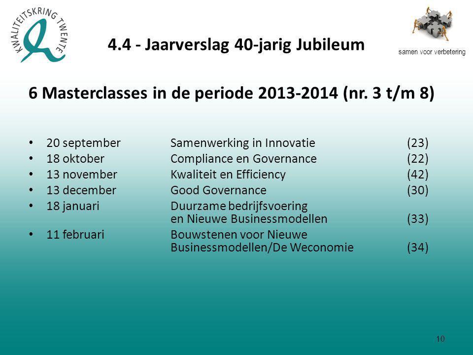 samen voor verbetering 4.4 - Jaarverslag 40-jarig Jubileum 6 Masterclasses in de periode 2013-2014 (nr.