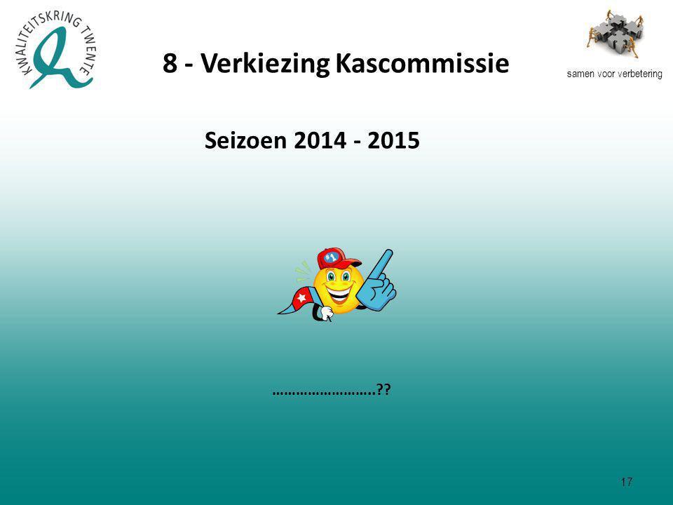 samen voor verbetering Seizoen 2014 - 2015 …………………….. 8 - Verkiezing Kascommissie 17