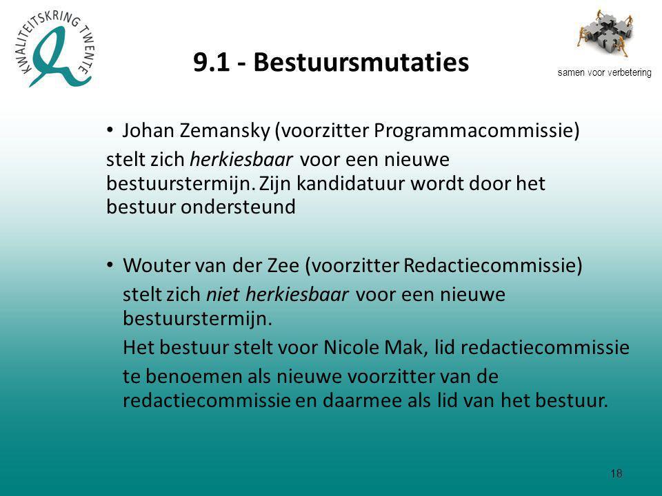 samen voor verbetering 9.1 - Bestuursmutaties Johan Zemansky (voorzitter Programmacommissie) stelt zich herkiesbaar voor een nieuwe bestuurstermijn.
