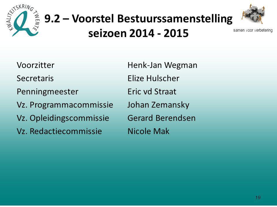 samen voor verbetering 9.2 – Voorstel Bestuurssamenstelling seizoen 2014 - 2015 VoorzitterHenk-Jan Wegman SecretarisElize Hulscher PenningmeesterEric vd Straat Vz.