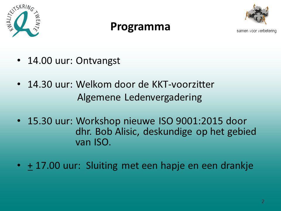 samen voor verbetering Programma 14.00 uur: Ontvangst 14.30 uur: Welkom door de KKT-voorzitter Algemene Ledenvergadering 15.30 uur: Workshop nieuwe ISO 9001:2015 door dhr.