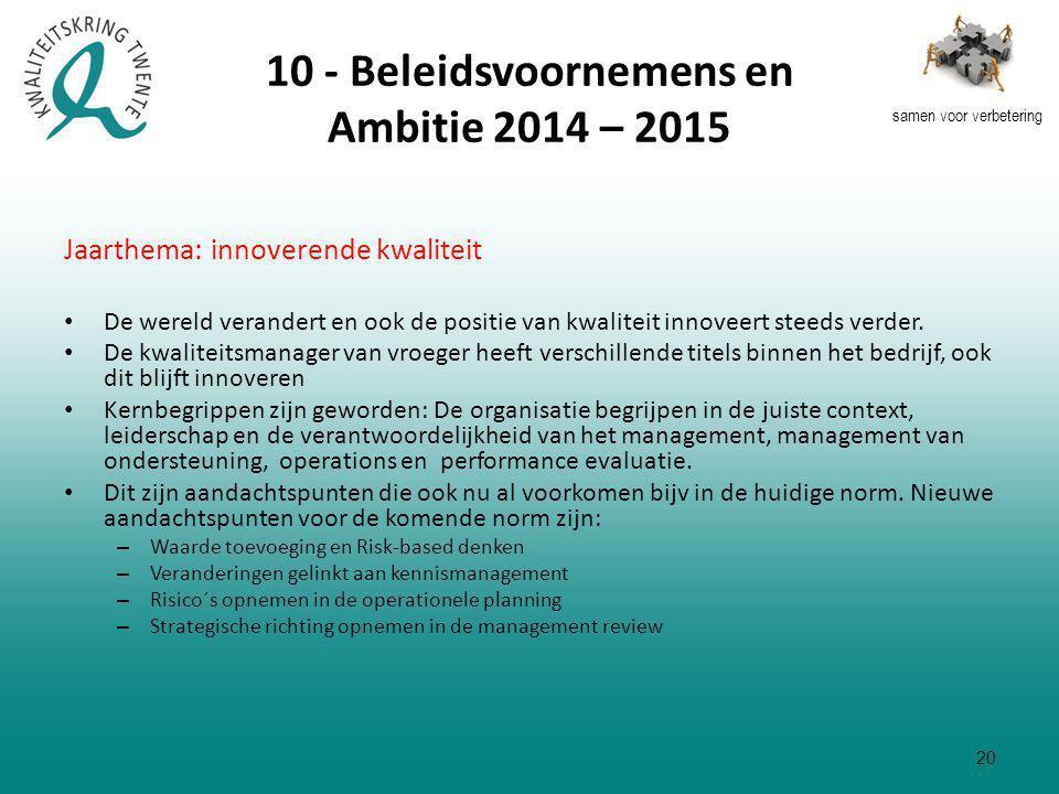 samen voor verbetering 10 - Beleidsvoornemens en Ambitie 2014 – 2015 Jaarthema: innoverende kwaliteit De wereld verandert en ook de positie van kwaliteit innoveert steeds verder.