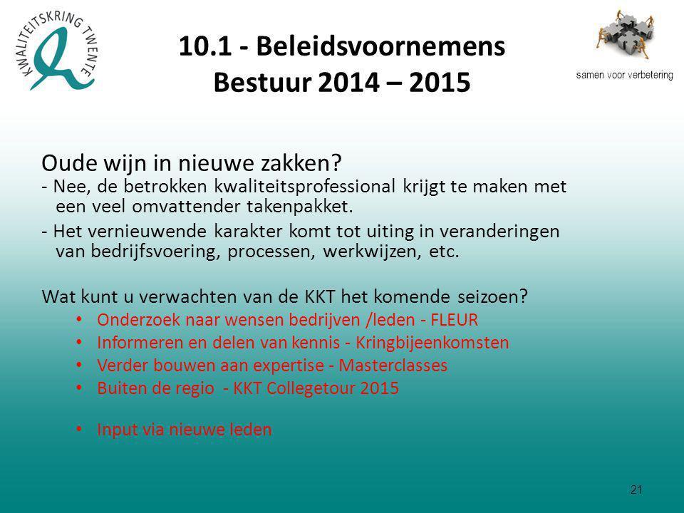 samen voor verbetering 10.1 - Beleidsvoornemens Bestuur 2014 – 2015 Oude wijn in nieuwe zakken.