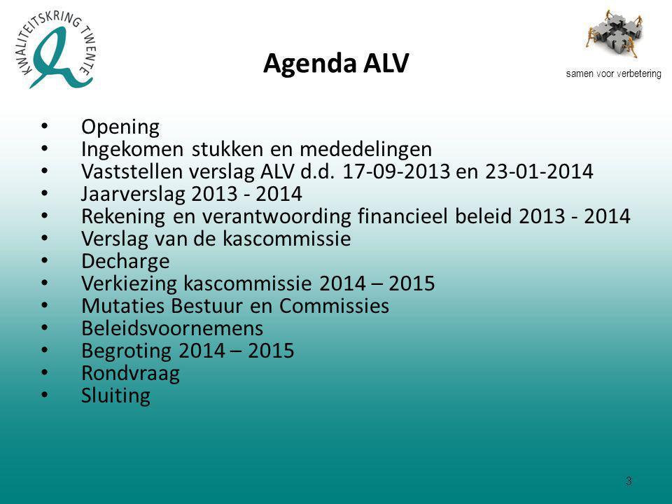 samen voor verbetering Agenda ALV Opening Ingekomen stukken en mededelingen Vaststellen verslag ALV d.d.