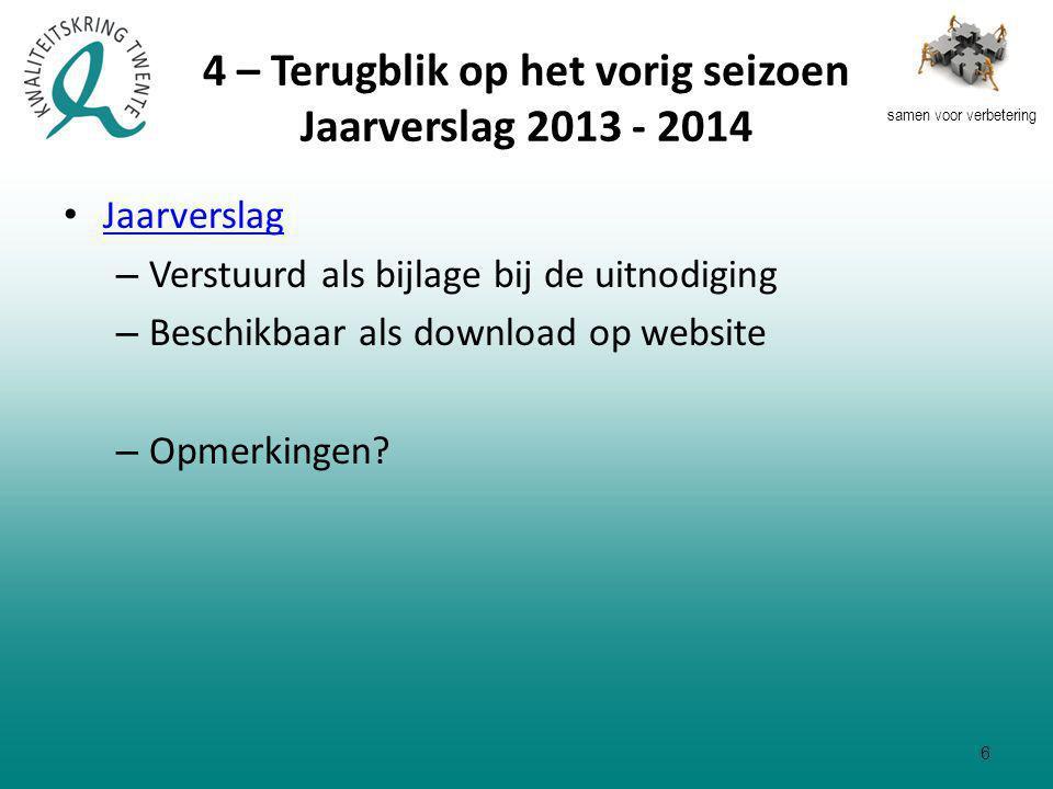 samen voor verbetering 4 – Terugblik op het vorig seizoen Jaarverslag 2013 - 2014 Jaarverslag – Verstuurd als bijlage bij de uitnodiging – Beschikbaar als download op website – Opmerkingen.