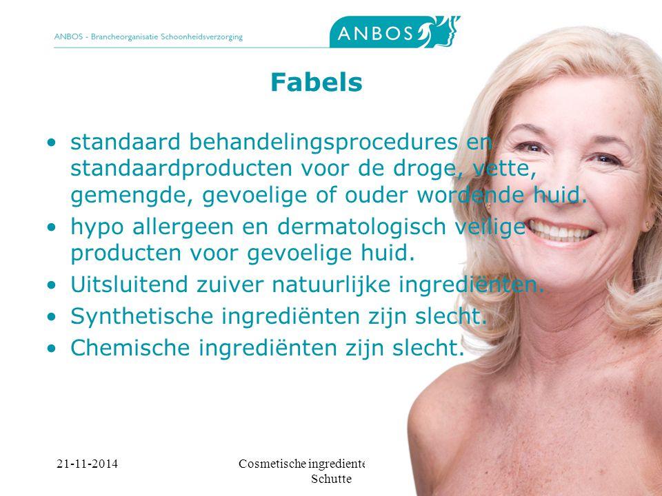 21-11-2014Cosmetische ingredienten, Marieke Schutte Fabels standaard behandelingsprocedures en standaardproducten voor de droge, vette, gemengde, gevoelige of ouder wordende huid.