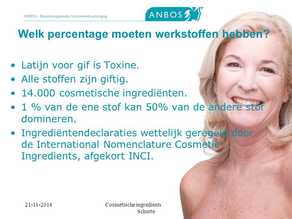21-11-2014Cosmetische ingredienten, Marieke Schutte Welk percentage moeten werkstoffen hebben.