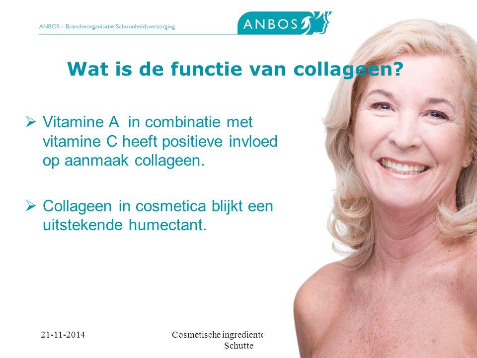 21-11-2014Cosmetische ingredienten, Marieke Schutte Wat is de functie van collageen.