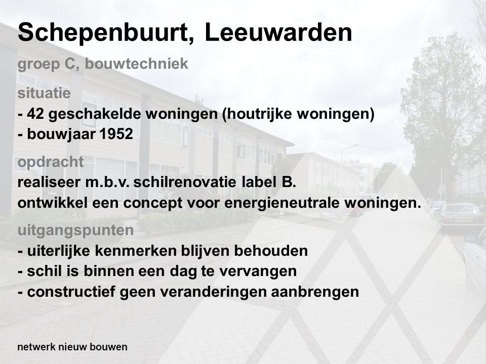 Schepenbuurt, Leeuwarden situatie - 42 geschakelde woningen (houtrijke woningen) - bouwjaar 1952 opdracht realiseer m.b.v. schilrenovatie label B. ont