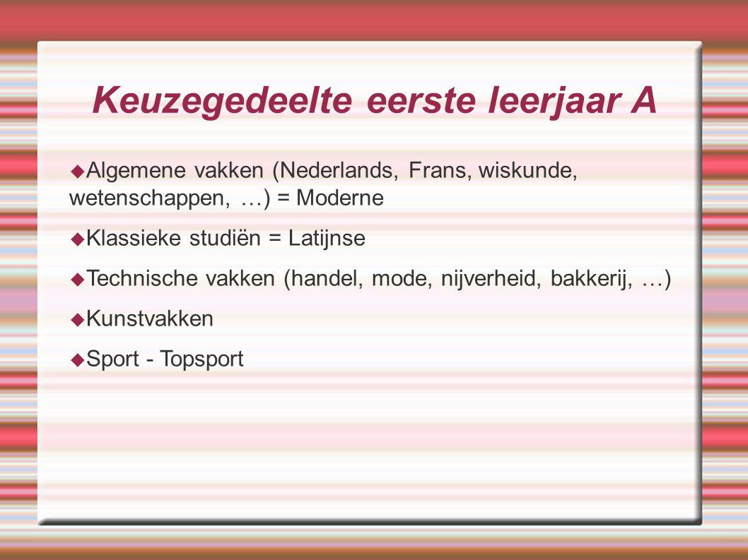 Keuzegedeelte eerste leerjaar A  Algemene vakken (Nederlands, Frans, wiskunde, wetenschappen, …) = Moderne  Klassieke studiën = Latijnse  Technisch