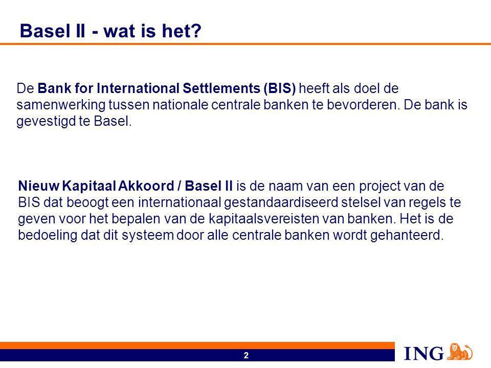 2 Basel II - wat is het? Nieuw Kapitaal Akkoord / Basel II is de naam van een project van de BIS dat beoogt een internationaal gestandaardiseerd stels