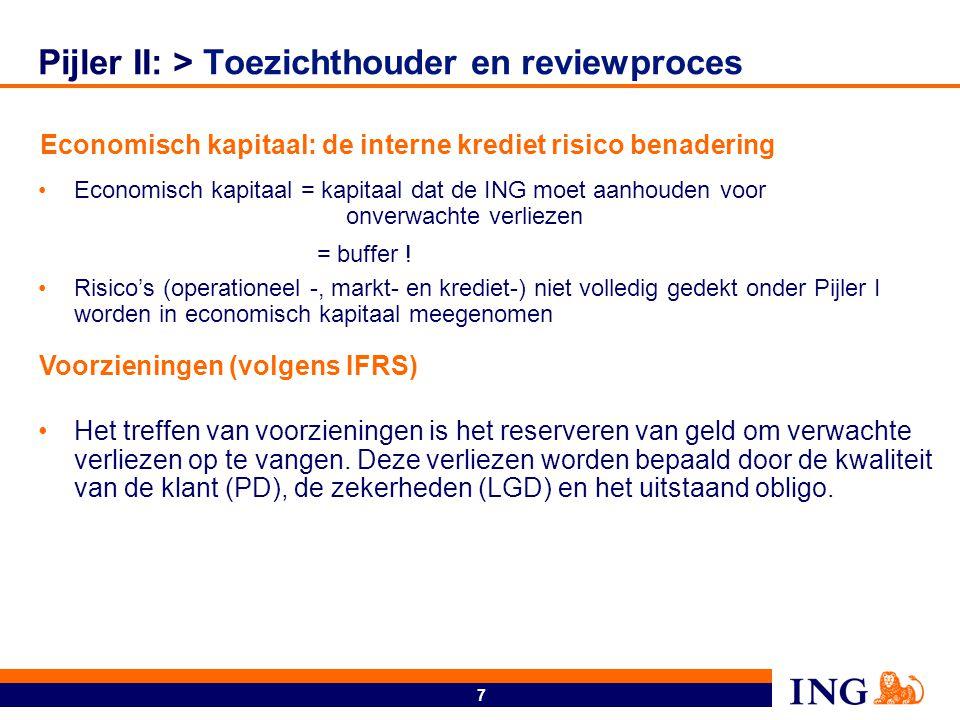 7 Pijler II: > Toezichthouder en reviewproces Economisch kapitaal = kapitaal dat de ING moet aanhouden voor onverwachte verliezen = buffer ! Risico's