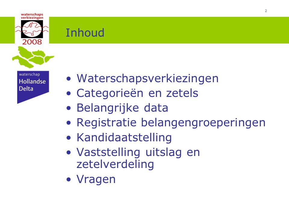 2 Inhoud Waterschapsverkiezingen Categorieën en zetels Belangrijke data Registratie belangengroeperingen Kandidaatstelling Vaststelling uitslag en zetelverdeling Vragen