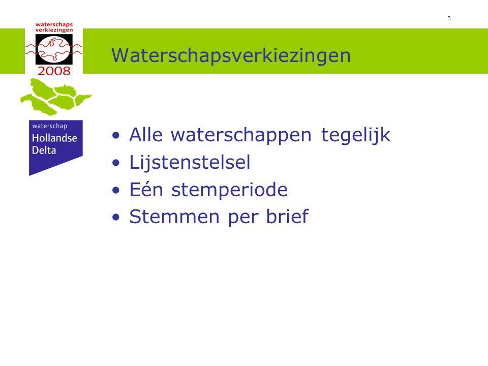 3 Waterschapsverkiezingen Alle waterschappen tegelijk Lijstenstelsel Eén stemperiode Stemmen per brief