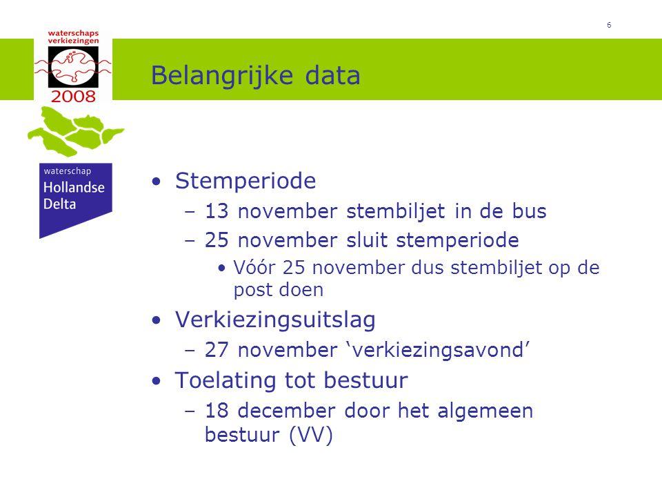 6 Belangrijke data Stemperiode –13 november stembiljet in de bus –25 november sluit stemperiode Vóór 25 november dus stembiljet op de post doen Verkiezingsuitslag –27 november 'verkiezingsavond' Toelating tot bestuur –18 december door het algemeen bestuur (VV)
